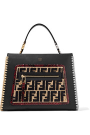 Fendi Runaway small python and raffia-trimmed leather tote