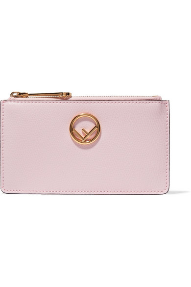 Fendi - Textured-leather Cardholder - Baby pink at NET-A-PORTER
