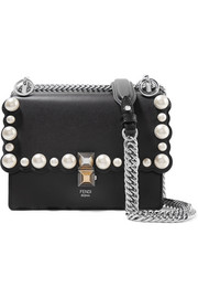 Fendi Kan I mini faux pearl-embellished leather shoulder bag