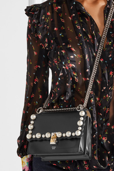 Fendi Kan I Mini Shoulder Bag Made Of Leather With Artistic Pearls