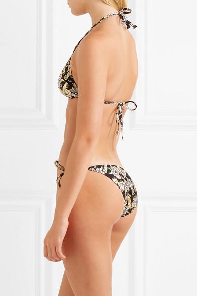 Moschino Bedruckter Triangel-Bikini mit Metallic-Effekt