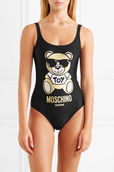 Moschino Badeanzug mit Metallic-Druck