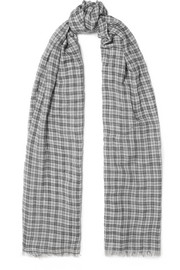 Woody checked wool scarf