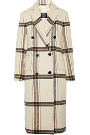 Gritt double-breasted plaid brushed-felt coat