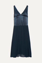 Carrol pleated chiffon and satin midi dress