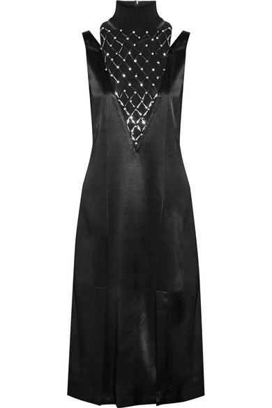 Leosa Embellished Chiffon-paneled Satin Midi Dress - Black By Malene Birger Clearance Store Cheap Price Sale Footlocker Classic Clearance Classic GRIA3