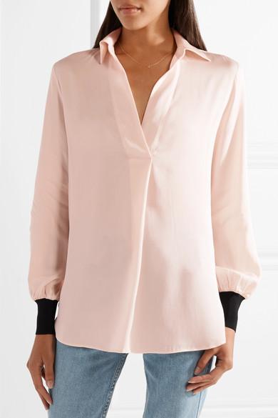 By Malene Birger Agatah zweifarbige Bluse aus Stretch-Seide mit Rippstrickbesätzen