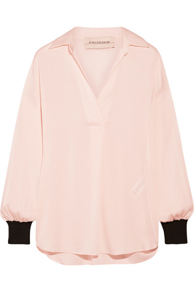 By Malene Birger - Agatah Two-tone Ribbed Knit-trimmed Stretch-silk Blouse - Pink