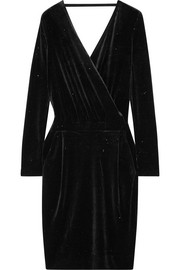 Jannina wrap-effect metallic stretch-velvet dress