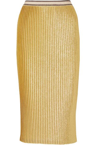 By Malene Birger - Susianna Plissé Glittered Stretch-knit Midi Skirt - Gold