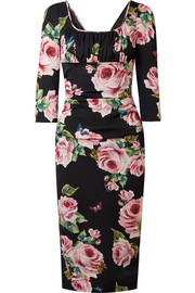 Dolce & Gabbana Ruched floral-print stretch-silk charmeuse midi dress