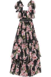Shirred floral-print silk-chiffon gown