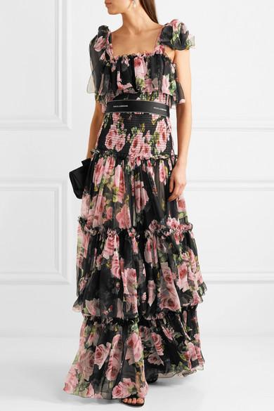 Dolce & Gabbana Geraffte Robe aus Seidenchiffon mit Blumendruck