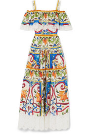 Dolce & Gabbana Maiolica lace-trimmed printed cotton-blend poplin maxi dress