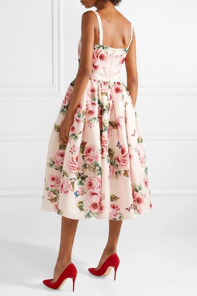 1daee924637d Dolce & Gabbana | Pleated floral-print silk-organza midi dress | NET ...