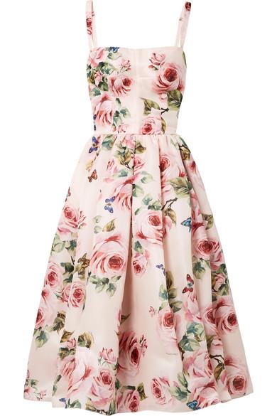 Dolce & Gabbana Midikleid aus Seidenorganza mit floralem Print und Falten