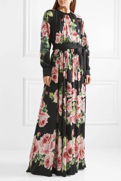 Dolce & Gabbana Robe aus Charmeuse aus einer Seidenmischung mit Blumenprint