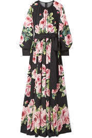 Dolce & Gabbana Floral-print silk-blend charmeuse gown