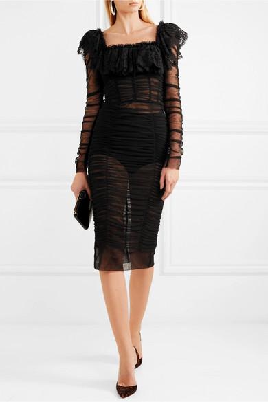 Dolce & Gabbana Gerafftes Midikleid aus Tüll mit Spitzenbesatz