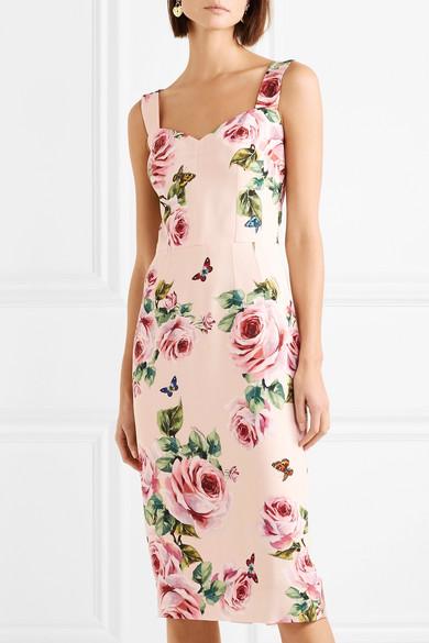 Dolce & Gabbana Kleid aus Cady mit Blumendruck