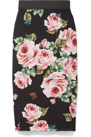 Floral-print stretch-silk charmeuse midi skirt