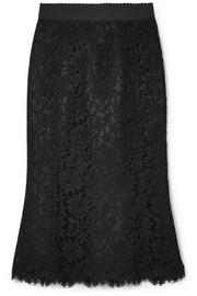 Dolce & Gabbana Cotton-blend corded lace midi skirt