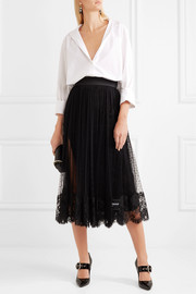Dolce & Gabbana Lace-trimmed Swiss-dot tulle midi skirt