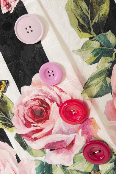 Dolce & Gabbana Minirock aus bedrucktem Brokat aus einer Baumwoll-Seidenmischung