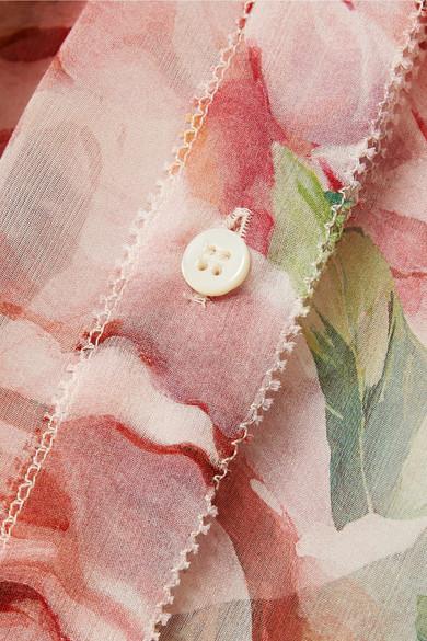 Dolce & Gabbana Schluppenbluse aus Seidenchiffon mit floralem Print