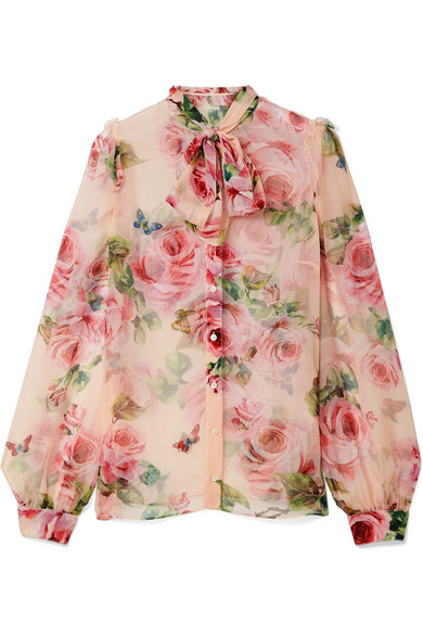 Dolce & Gabbana - Pussy-bow Floral-print Silk-chiffon Blouse - Pastel pink