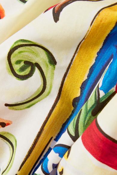 Dolce & Gabbana Maiolica schulterfreies Oberteil aus bedruckter Popeline aus einer Baumwollmischung