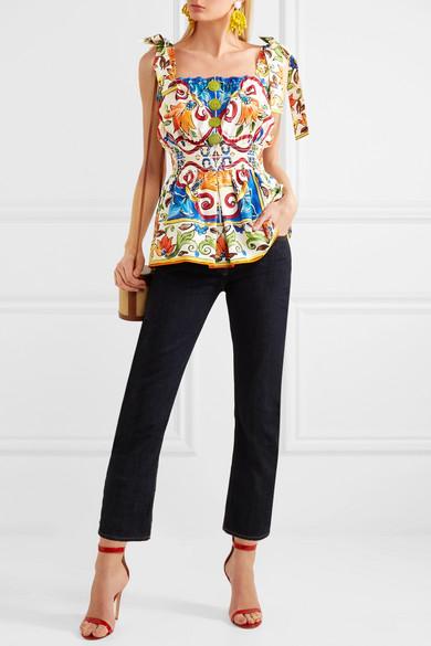 Dolce & Gabbana Maiolica Oberteil aus bedruckter Baumwollpopeline
