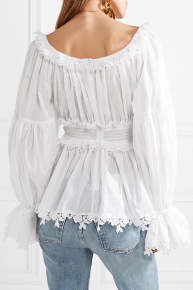Dolce & Gabbana Oberteil aus Baumwoll-Voile mit Besätzen aus Guipure-Spitze