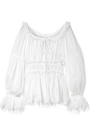 Dolce & Gabbana Guipure lace-trimmed cotton-voile top