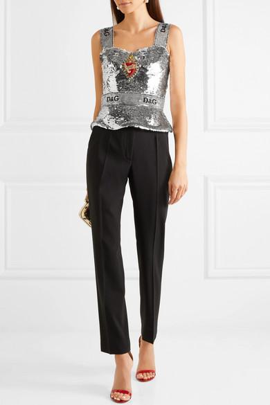 Dolce & Gabbana Verziertes Bustier-Oberteil aus Tüll mit Pailletten