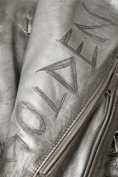 Spielraum Günstiger Preis Golden Goose Deluxe Brand Chiodo Bikerjacke aus Metallic-Leder in Distressed-Optik Rabatt Fälschung AXvDk