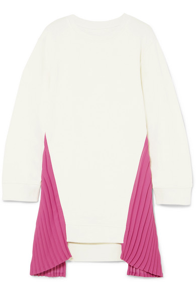 Mm6 Maison Margiela Dress In Cotton-jersey With Pleated Crêpe-inserts