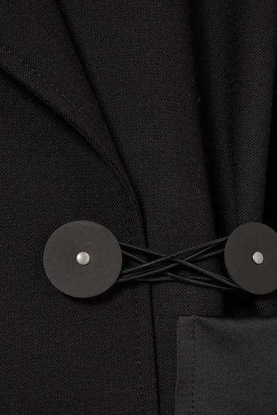 MM6 Maison Margiela Blazer aus Twill mit Besätzen aus Satin und Leder