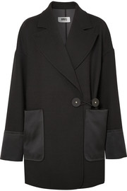 Satin and leather-trimmed twill blazer