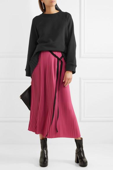 MM6 Maison Margiela Sweatshirt aus Baumwollfrottee mit plissiertem Crêpe-Einsatz