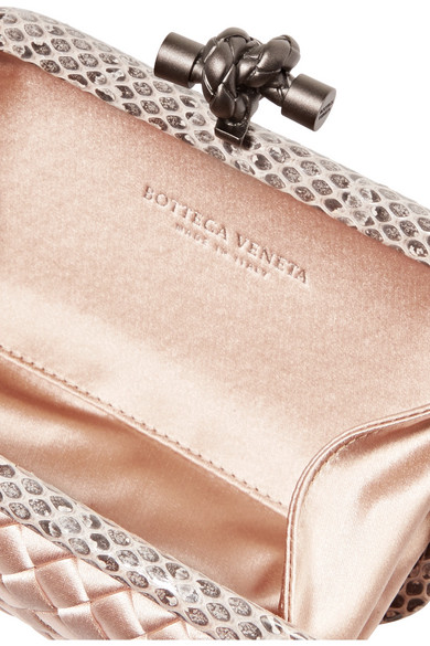 Bottega Veneta The Knot Clutch Of Intrecciato Satin With Water Snake Leather Trim