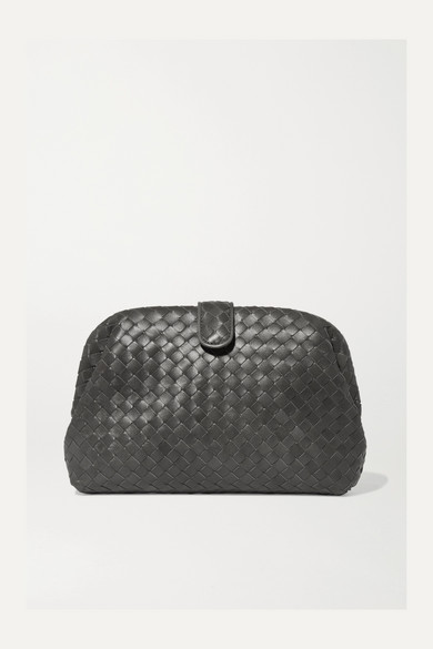 Bottega Veneta Lauren Clutch aus Intrecciato-Leder in Metallic-Optik