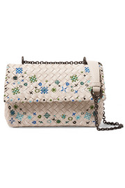 Olimpia baby embroidered intrecciato leather shoulder bag