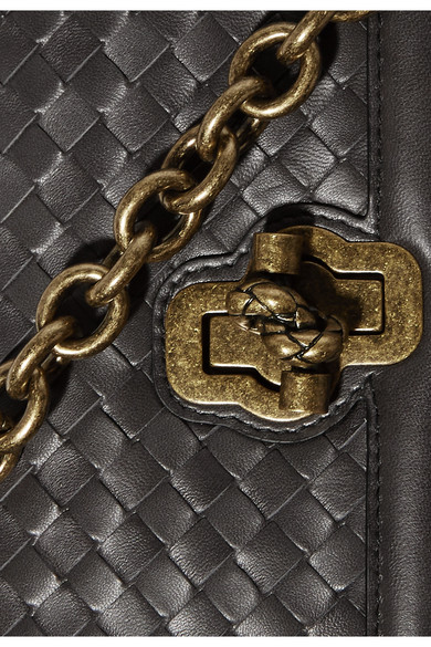 Bottega Veneta Olimpia Knot Schultertasche aus Intrecciato-Leder
