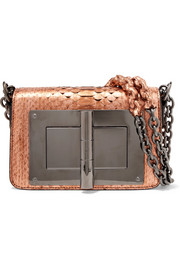 Natalia small metallic python shoulder bag