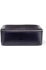 Mara croc-effect leather jewelry case