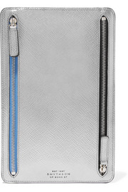 Panama metallic textured-leather wallet