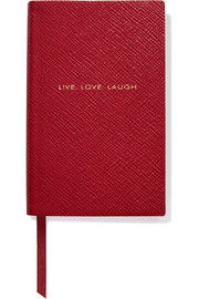 Smythson Panama Live, Laugh Love textured-leather notebook