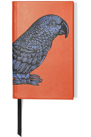 Printed textured-leather notebook
