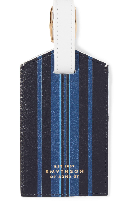 Smythson Bon Voyage striped leather luggage tag